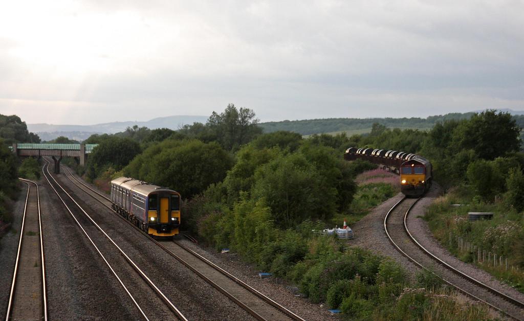 66206, 15.51 Margam-Hartlepool, Llandevenny, near Llanwern, 13-8-13. 153368/150, 19.00 Cardiff Central-Taunton.