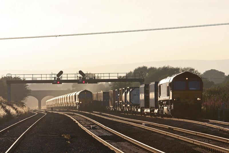 66164, 17.56 Cardiff Wentloog (Freightliners)- Didcot, Pilning, 1-8-13. 66528, 18.54 Fifoots Power Station-Bristol Stoke Gifford Yard.