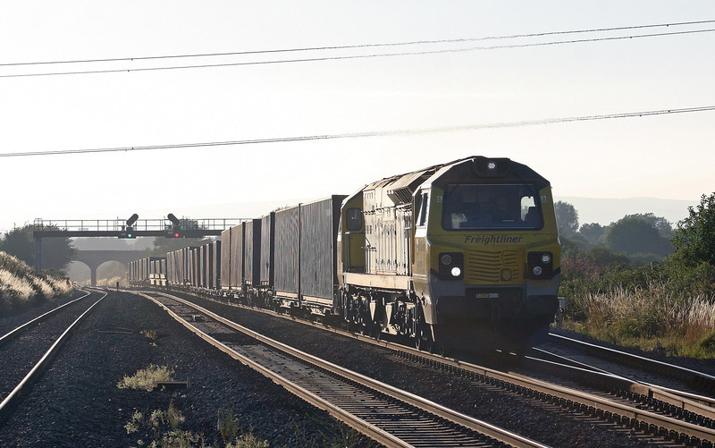 70016, 16.55 Cardiff Wentloog (Freightliners)- Southampton MCT, Pilning, 1-8-13. two hours late after late arrival.