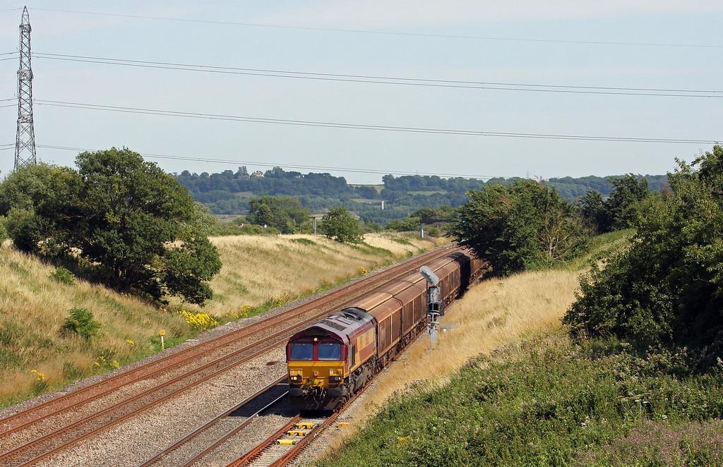 66083, 10.13 Tilbury International Rail Freight Terminal-Trostre Works, departs Pilning down loop, 1-8-13.