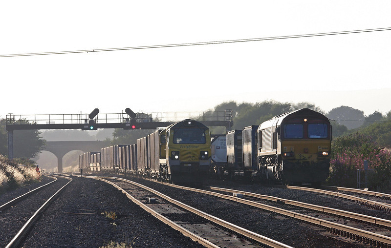 66164, 17.56 Cardiff Wentloog (Freightliners)- Didcot, Pilning, 1-8-13. 70016, 16.55 Cardiff Wentloog (Freightliners)- Southampton MCT, two hours late after late arrival.