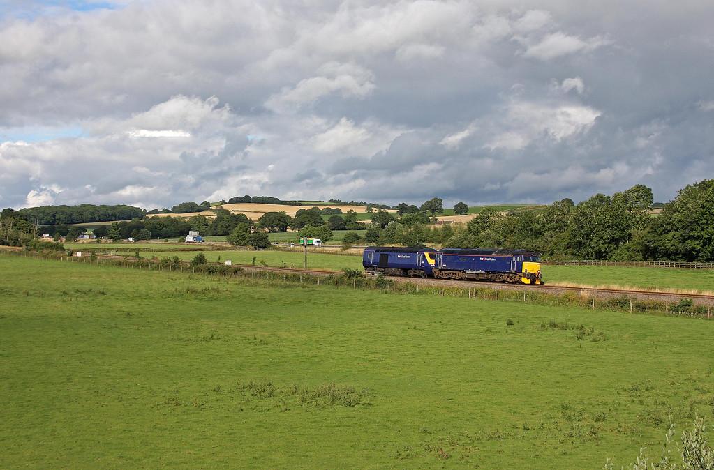 57605 and 43150, 16.30 Westbury-Plymouth Laira Traction Maintenance Depot, Tiverton Parkway, 5-8-13. 43150 failed near Pewsey on 11.00 Penzance-London Paddington service 4-8-13.