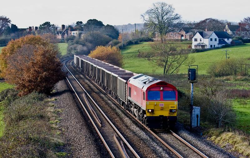 59201, 11.25 Exeter Riverside Yard-Westbury, Rewe, near Exeter, 6-12-13.