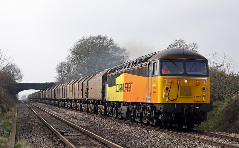 56302, 09.07 Llanwern Exchange Sidings-Long Marston, Woolaston, near Lydney, 18-2-13. Departure delayed.