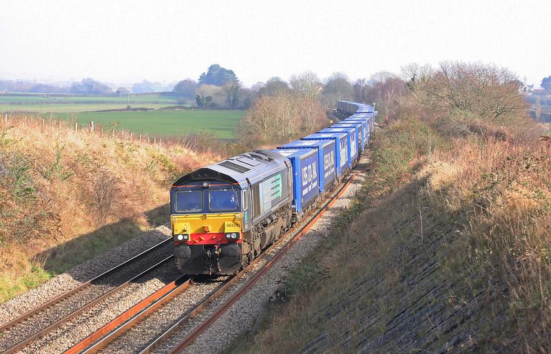 66423, 08.25 Daventry-Cardiff Wentloog, Tidenham, near Chepstow, 18-2-13.