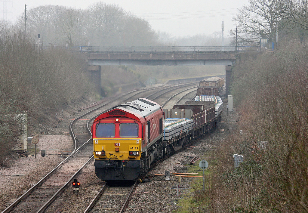 66152, 10.26 Westbury Yard-Saltash, departing Tiverton Loops, Willand, near Tiverton, 20-2-13.