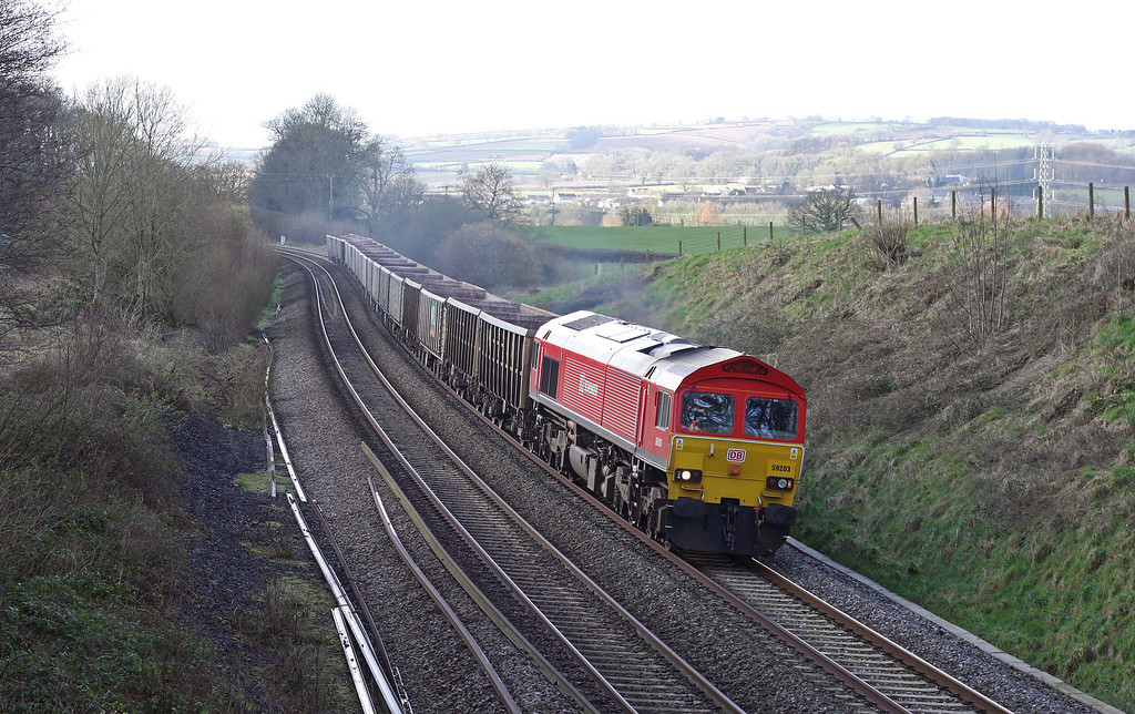 59203, 12.03 Exeter Riverside Yard-Westbury Yard, Whiteball, 15-2-13.