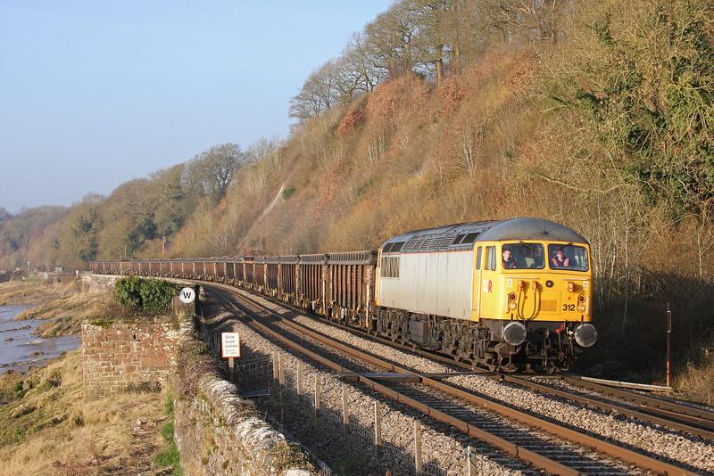 56312, 07.00 Cardiff Tidal-Chaddesden Sidings, Gatcombe, near Lydney, 18-2-13.