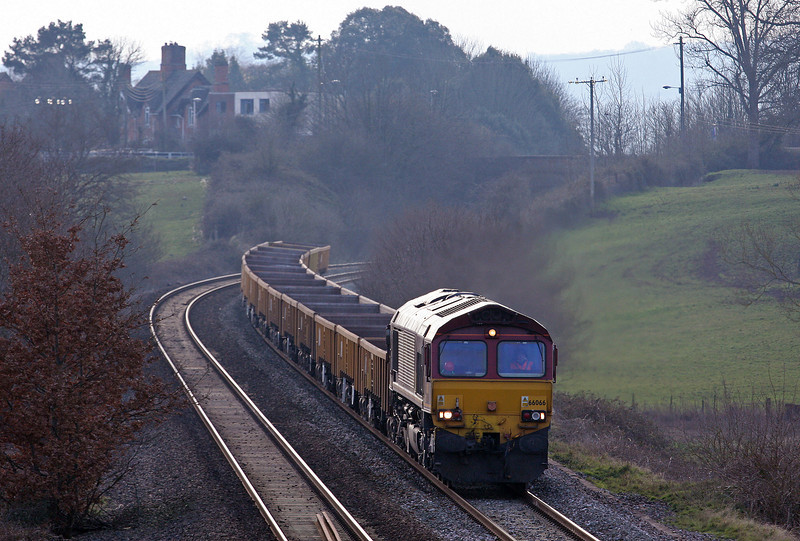 66066, 14.30 Saltash-Westbury Yard, Rewe, near Exeter, 21-2-12. Early.