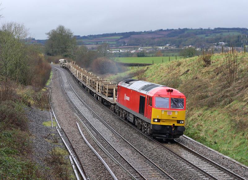 60010, 08.45 Totnes-Bescot Yard, via Melksham and Evesham, Whiteball, 10-2-13. Train terminated at Oxford Hinksey Yard.