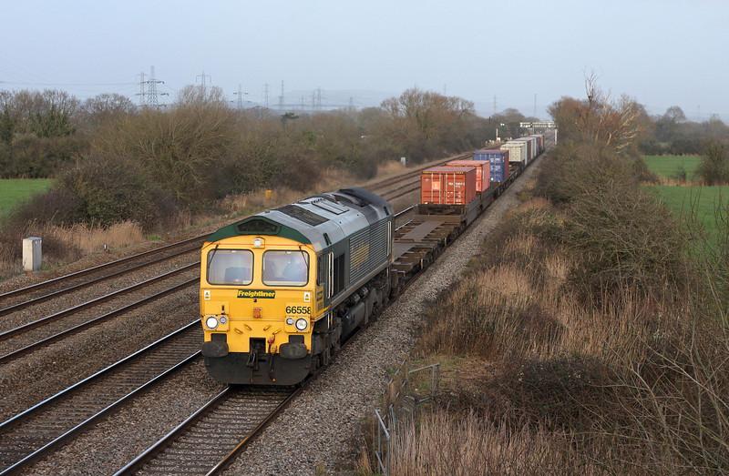 66558, 10.32 Southampton Millbrook-Cardiff Wentloog, Coedkernow, near Newport, 30-11-13.