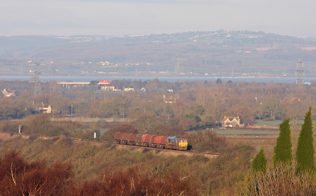 66002, 08.18 Llanwern Steelworks-Swindon Steel Terminal, between Pilning and Cattybrook, Bristol, 15-1-13.