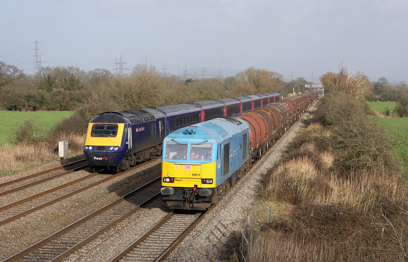 60074, 10.01 Round Oak-Margam, 43153/43194, 12.15 London Paddington-Cardiff Central, Coedkernow, near Newport, 30-1-13.