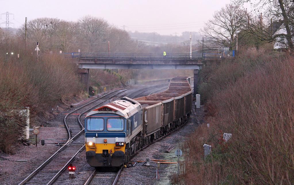 59102, 05.29 Westbury Yard-Exeter Riverside Yard, departing Tiverton Loops, Willand, near Tiverton, 28-1-13.