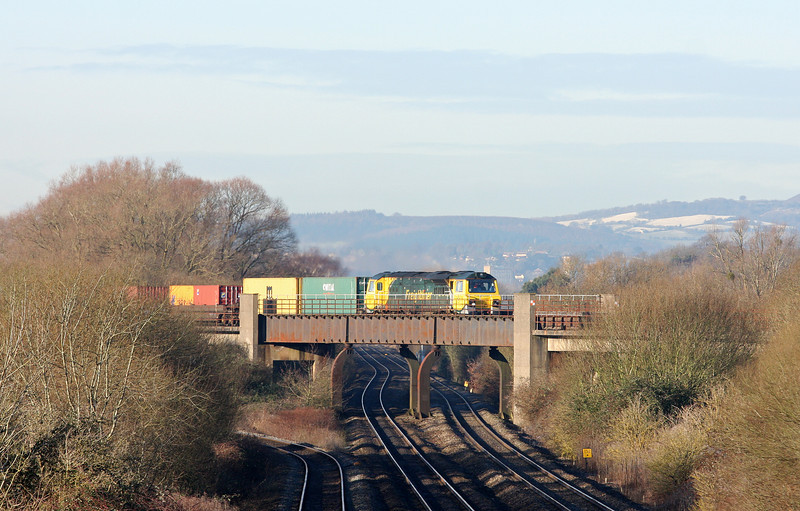 70007, 09.58 Cardiff Wentloog-Southampton, Bishton Flyover, near Llanwern, 15-1-13.