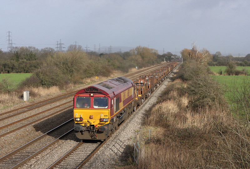 66115, 11.42 Cardiff Docks-Margam, via Newport ADJ Yard, Coedkernow, near Newport, 30-1-13.