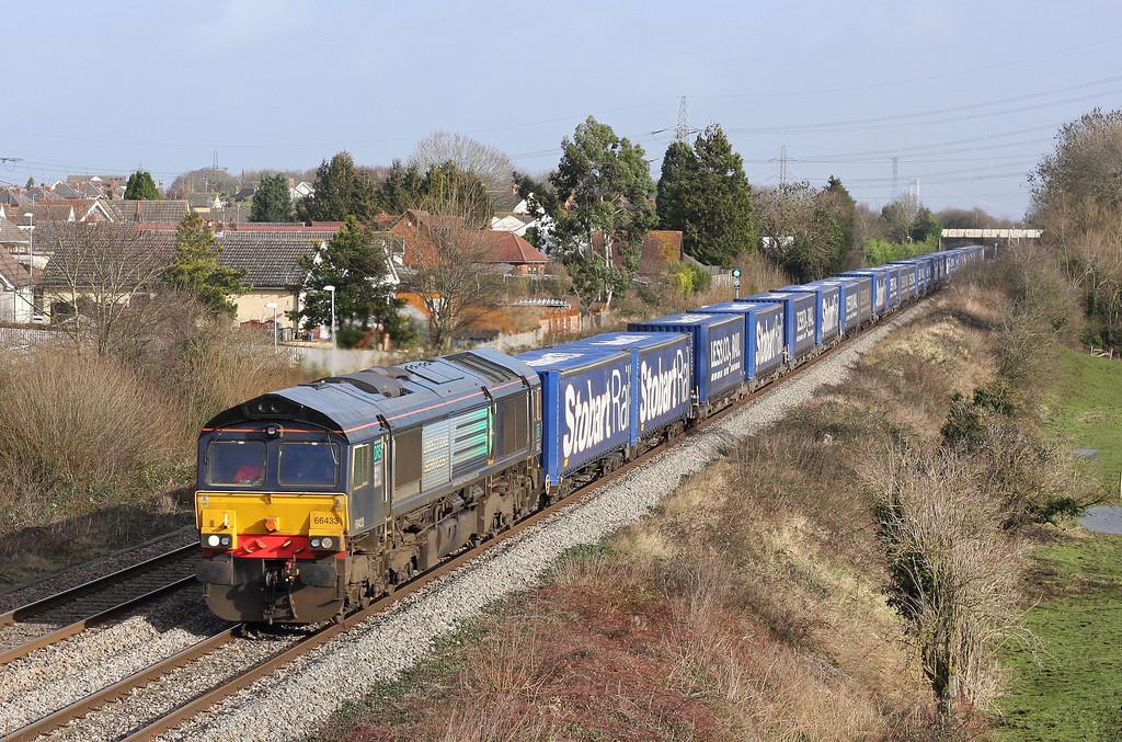 66433, 08.25 Daventry International Rail Freight Terminal-Cardiff Wentloog, Portskewett, near Caldicot, 30-1-13.