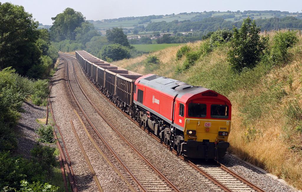 59205, 12.22 Exeter Riverside Yard-Whatley Quarry, Whiteball, 16-7-13.