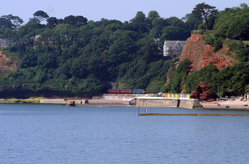 57313/57601, topping and tailing 09.50 Torquay-Saltburn, Coryton Cove, Dawlish, 8-7-13.