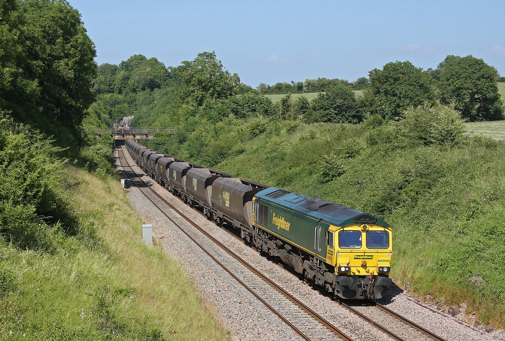 66956, late-running 11.15 Rugeley Power Station-Bristol Stoke Gifford Yard, Rangeworthy, Gloucestershire, 6-7-13.