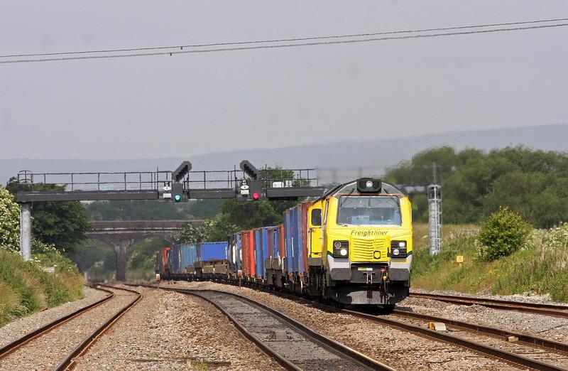 70008, 09.58 Cardiff Wentloog-Southampton, Pilning, 1-7-13.