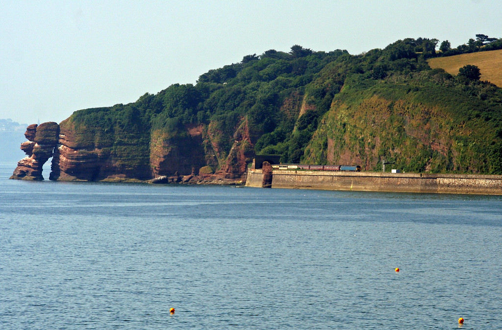 57313/57601, topping and tailing 09.50 Torquay-Saltburn, Horse Cove, Dawlish, 8-7-13.