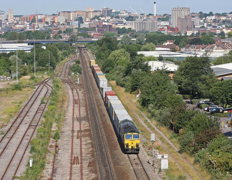 66532, 09.03 Bristol Freightliner Terminal-Felixstowe, St Anne's, Bristol, 9-7-13.
