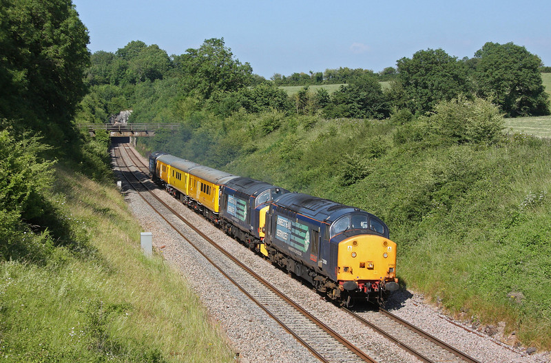37601/37602, 13.05 Derby RTC-Newport Alexandra Dock Junction, Rangeworthy, Gloucestershire, 6-7-13. 37607 tailing.