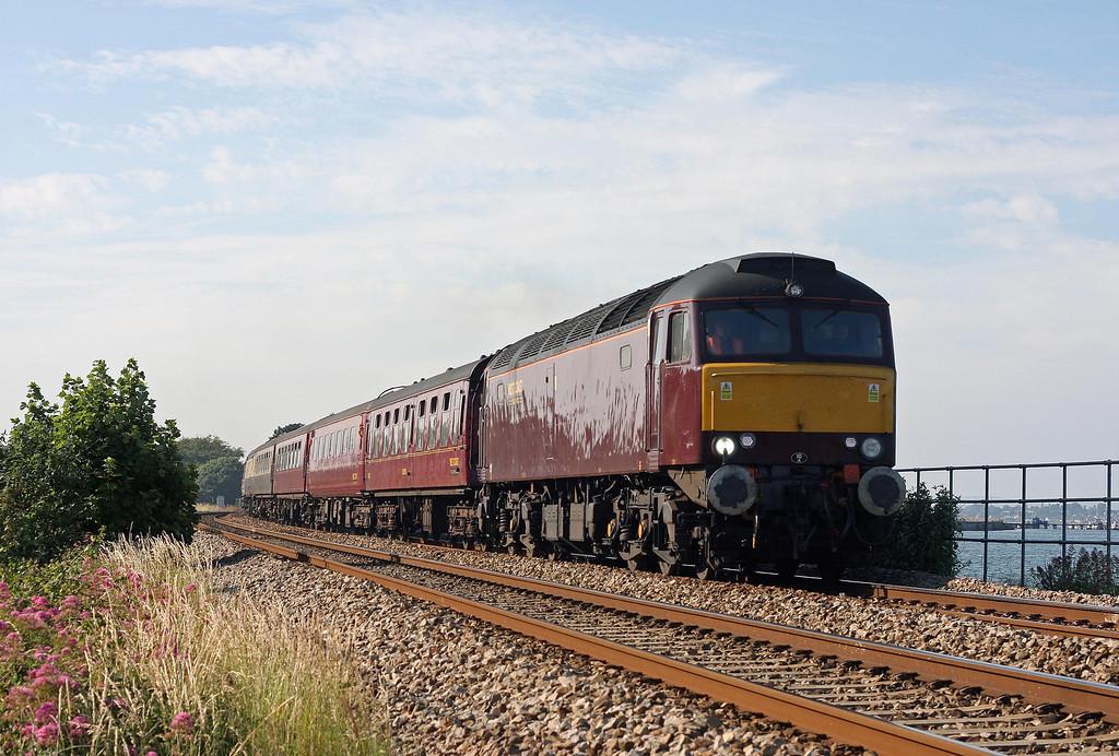 57601, 08.10 Saltburn-Torquay, Cockwood, near Starcross, 5-7-13. 57313 tailing.