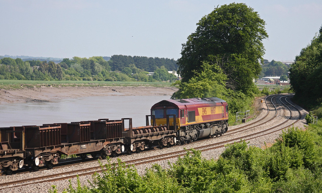 66057, 10.28 Corby-Margam, Bulwark, Chepstow, 6-6-13, with 66082 on rear of double consist.