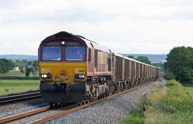 66188, 17.37 Plymouth Tavistock Junction Yard-Westbury Yard, Pugham Crossing, near Burlescombe, 21-6-13.