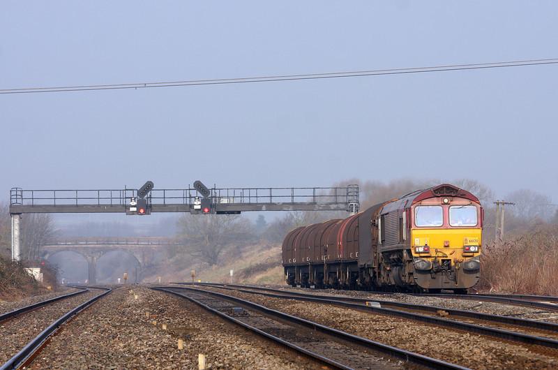 66120, 08.18 Llanwern-Swindon Steel Terminal. Pilning, 5-3-13.