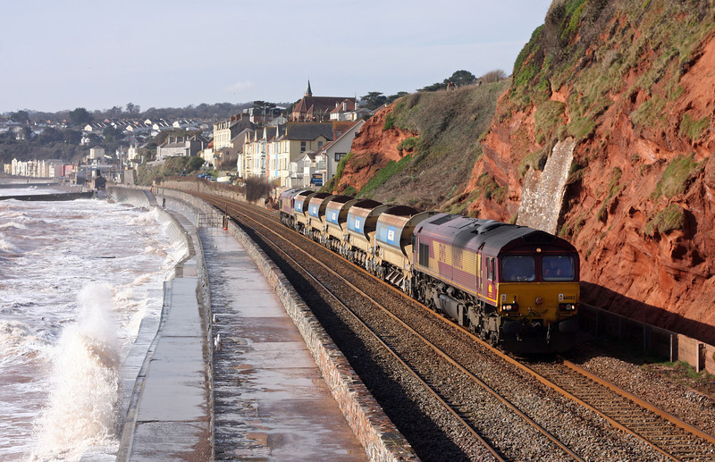 66082/66044, top'n'tail 06.25 St Erth-Westbury, Dawlish, 12-3-13.