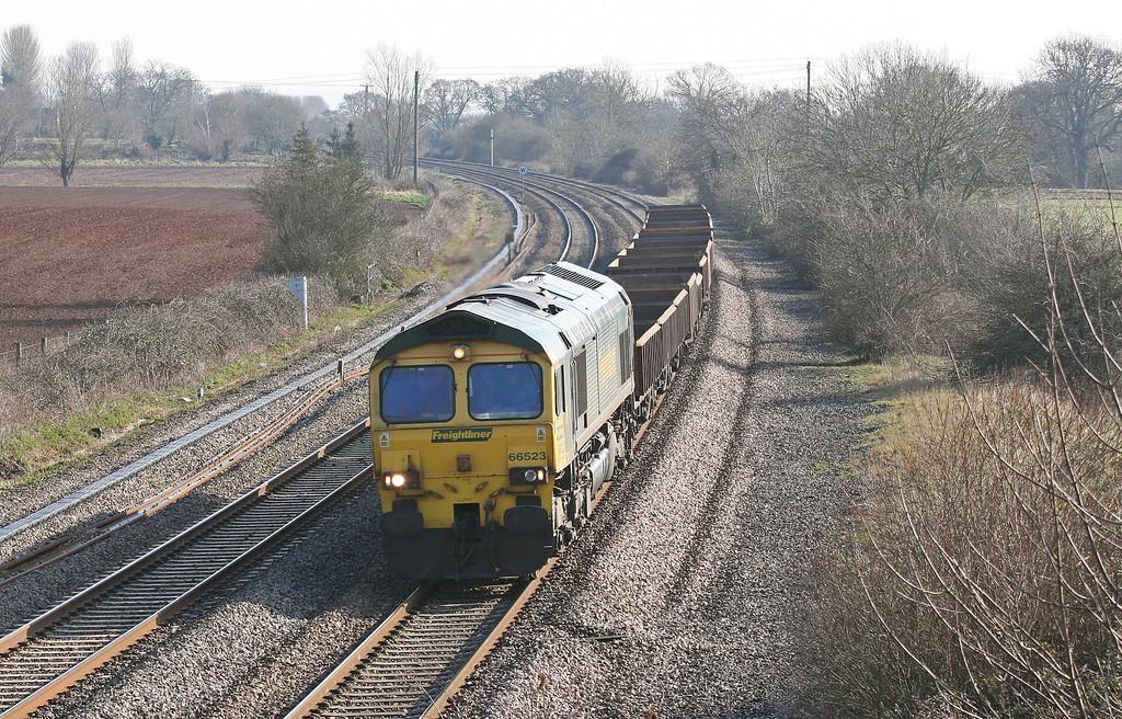 66523, 08.23 Westbury Yard-Exeter Riverside Yard, Creech St Michael, near Taunton, 14-3-13.