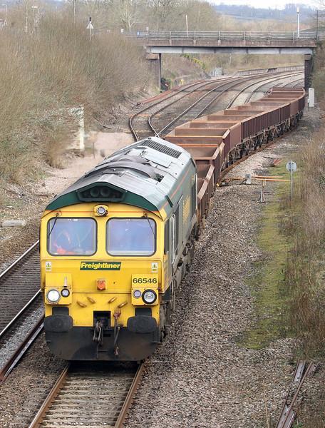 66546, 08.42 Westbury Yard-Exeter Riverside Yard, departs Tiverton Loops, Willand, near Tiverton, 11-3-13.