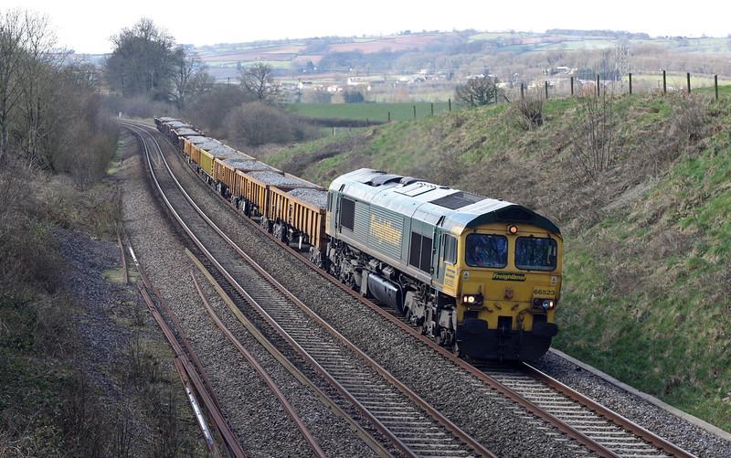 66523, 12.33 Exeter Riverside Yard-Westbury Yard, Whiteball, 14-3-13.