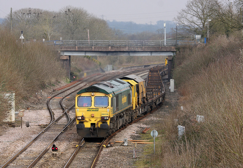 66514, 08.27 Westbury Yard-Newton Abbot Hackney Yard, Willand, near Tiverton, 26-3-13.