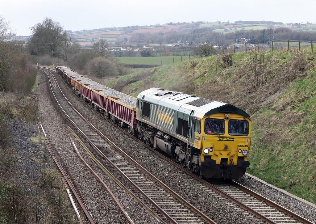 66546, 13.38 Exeter Riverside Yard-Westbury Yard, Whiteball, 11-3-13.
