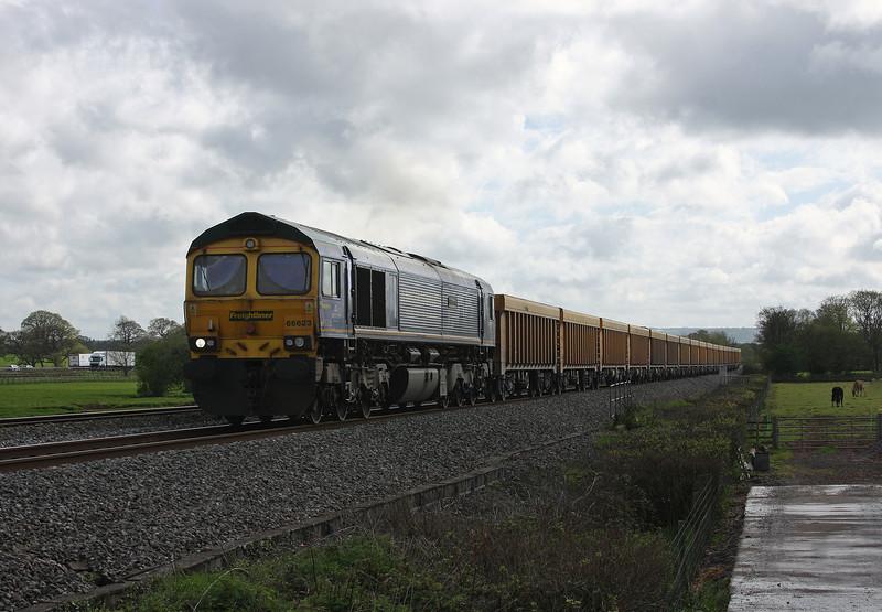 66623, 16.05 Exeter Riverside Yard-Westbury Yard, Pugham Crossing, near Burlescombe, 8-5-13, via Tiverton loop.