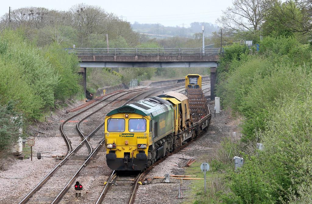 66522, 08.23 Westbury Yard-Newton Abbot Hackney Yard, Tiverton Loops, Willand, near Tiverton, 10-5-13.