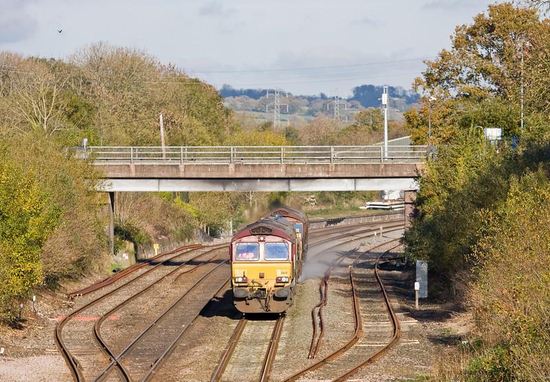 66141/66193, 08.45 Westbury-St Blazey, Tiverton Loops, Willand, near Tiverton, 23-11-13.
