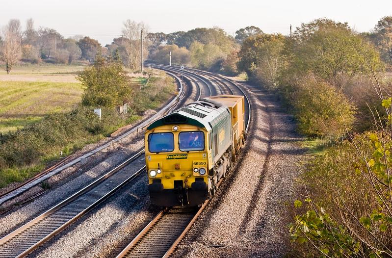 66550, 09.42 Bristol St Philip's Marsh Depot-Taunton Fairwater Yard, Creech St Michael, near Taunton, 26-11-13.