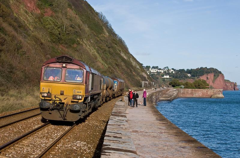 66141/66193, 0845, Westbury-St Blazey, Teignmouth., 12-11-13.