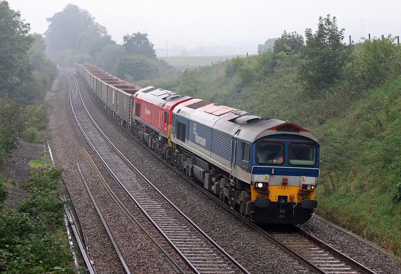 59104/59201, 14.31 Exeter Riverside Yard-Westbury Yard, Whiteball, 30-9-13. 59201 failed at Taunton on incoming stone.