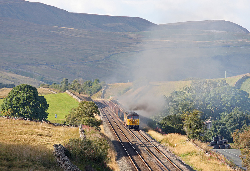 56302, restarting 10.07 Carlisle Yard-Chirk Kronospan,  Shotlock Hill, near Garsdale, 10-9-13, after 5hr delay caused by wagon problems with preceding 05.49 Hunterston-Fiddlers Ferry Power Station coal train hauled by 66551.
