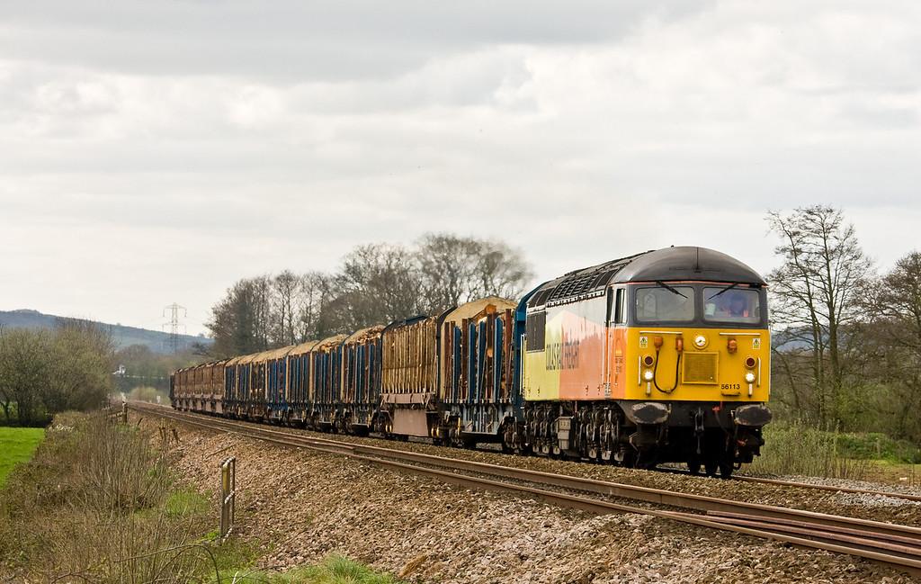 56113, 12.31 Exeter Riverside Yard-Chirk Kronospan, Pugham Crossing, near Burlescombe, 10-4-14.