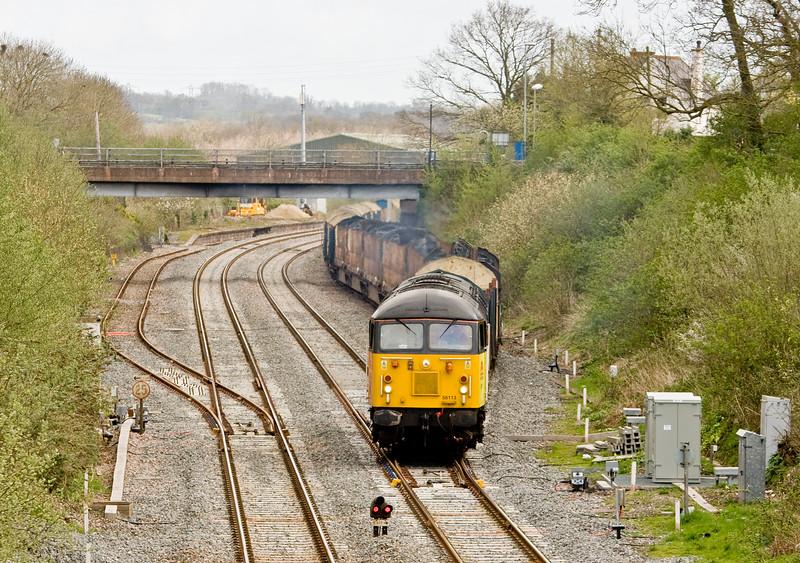 56113, 05.35 Chirk Kronospan-Exeter Riverside Yard, departing Tiverton Loops, Willand, near Tiverton, 9-4-13.