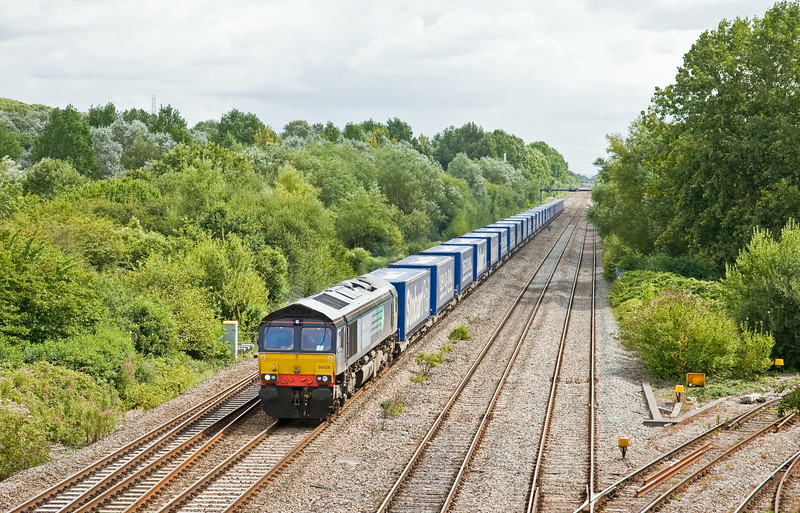 66426, 08.23 Daventry DRS-Cardiff Wentloog, Llanwern West Junction, 13-8-14.