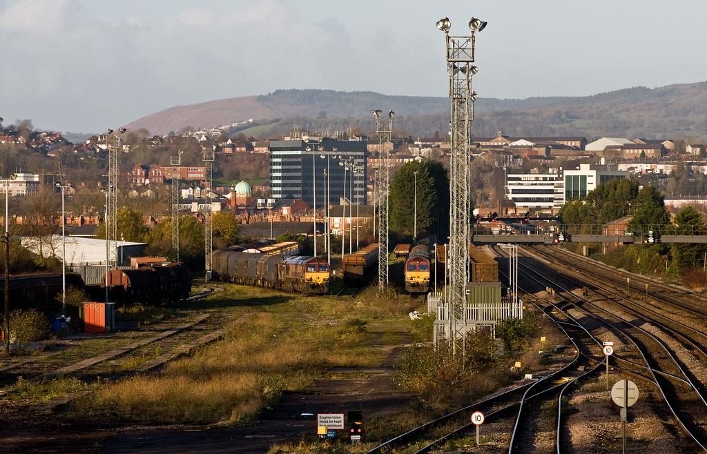 66005, parked; 07.30 Margam-Birdport; 66059, parked, 08.25 Birdport-Llanwern, East Usk Yard, Newport, 10-12-14.