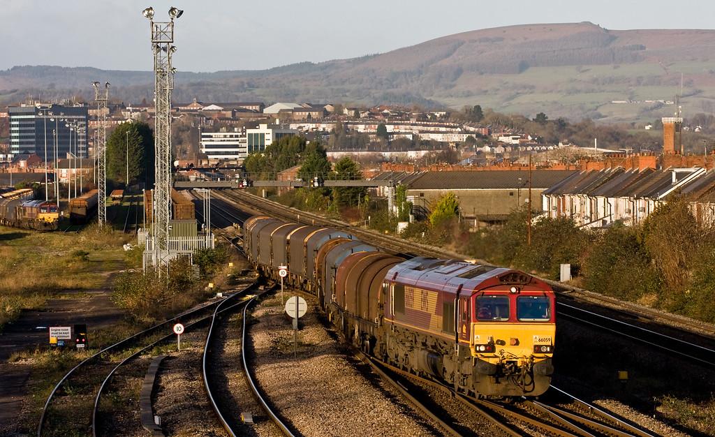 66059, 08.25 Birdport-Llanwern Exchange Sidings, East Usk Yard, Newport, 10-12-14.